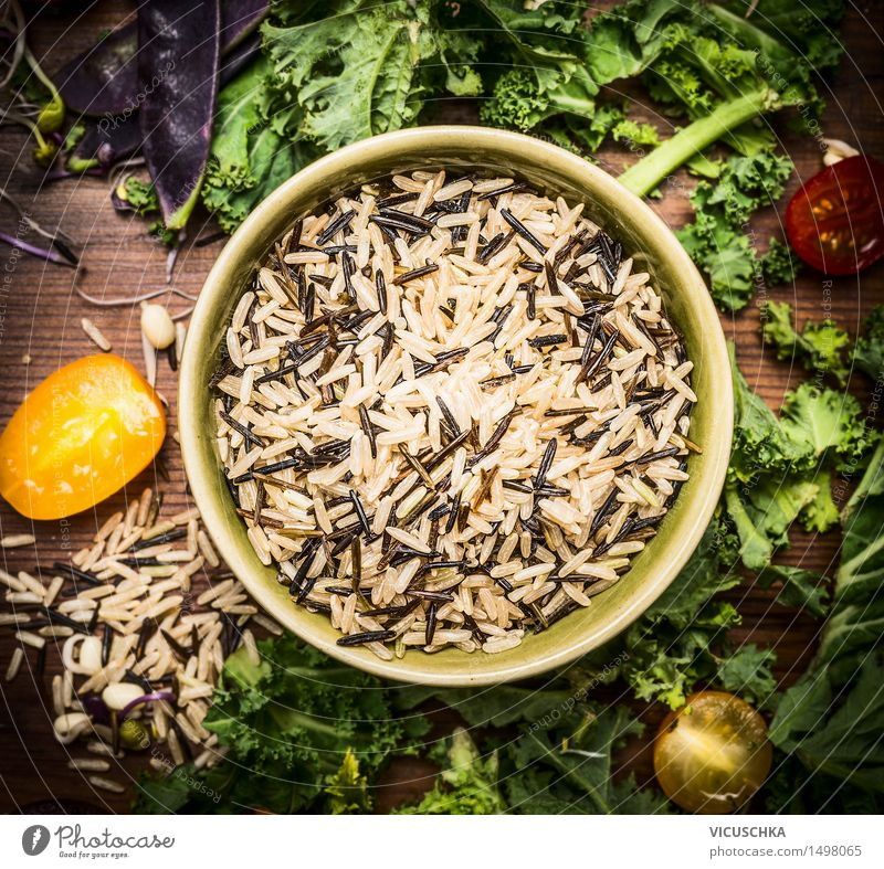Wild rice with vegetable ingredients Food Vegetable Grain Herbs and spices Nutrition Lunch Dinner Organic produce Vegetarian diet Diet Bowl Healthy Eating Life