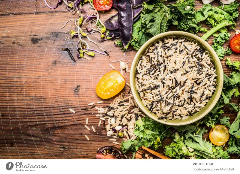 Wild rice with cabbage and vegetables Ingredients for healthy cooking Food Vegetable Lettuce Salad Grain Nutrition Lunch Dinner Buffet Brunch Banquet