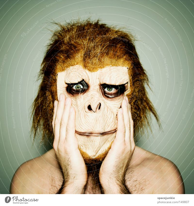 Man Hand Joy Animal Sadness Grief Mask Irritation Monkeys Dress up Horror Frightening