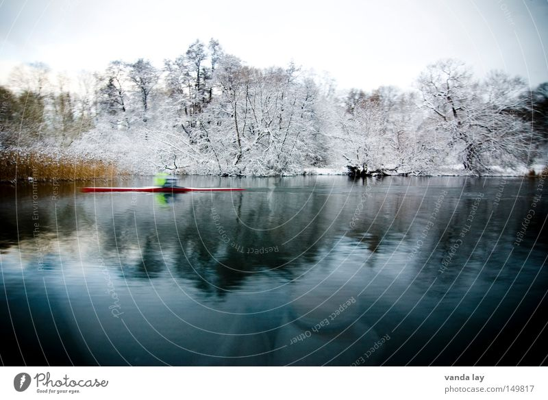 Stockholm Views River Water Body of water Reflection Forest Tree Cold Winter Rower Kayak Sportsperson Motion blur Coast Lakeside River bank Sweden Scandinavia