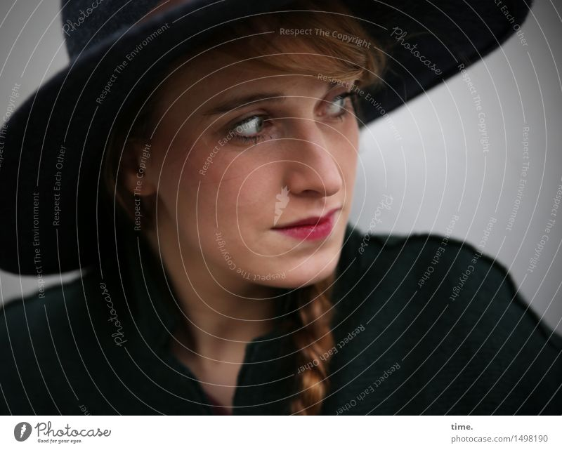 . Feminine Woman Adults 1 Human being Jacket Hat Red-haired Long-haired Braids Observe Think Looking Wait Beautiful Self-confident Willpower Watchfulness