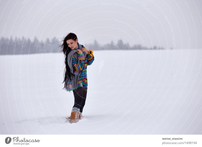 Ypung woman in a sweater on a winter walk Human being Woman Sky Nature Vacation & Travel Youth (Young adults) Blue Beautiful Young woman White Hand Red Landscape Clouds Winter Forest