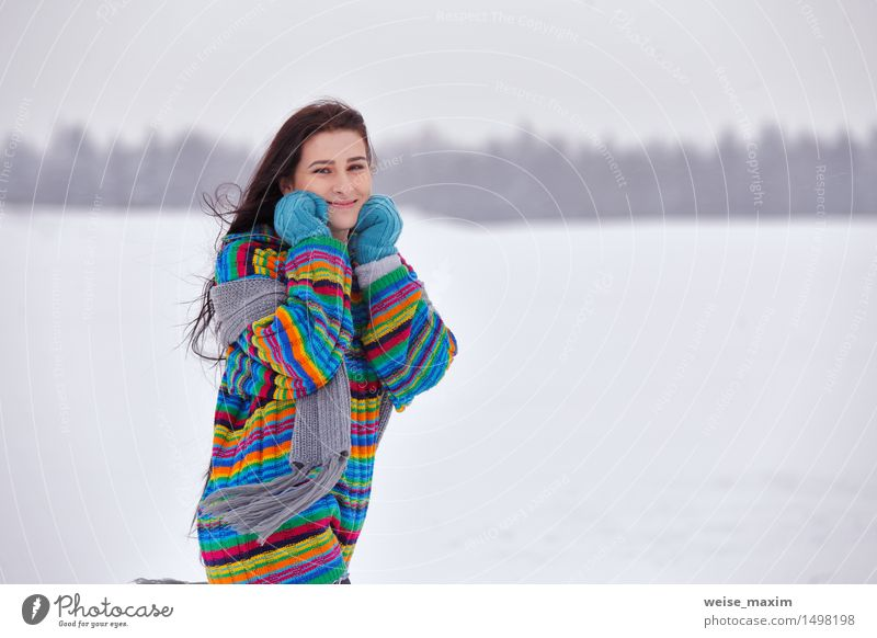 Young woman in a sweater on a winter walk Happy Beautiful Vacation & Travel Winter Snow Hiking Human being Youth (Young adults) Woman Adults Head