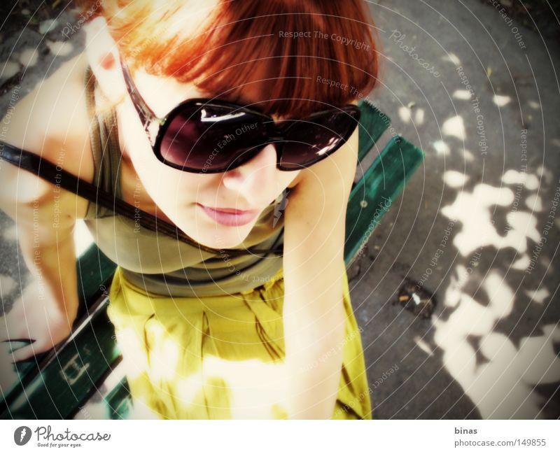 SunShine Woman Summer women Perspective Contrast Sunglasses Green Yellow Shadow Park Orange