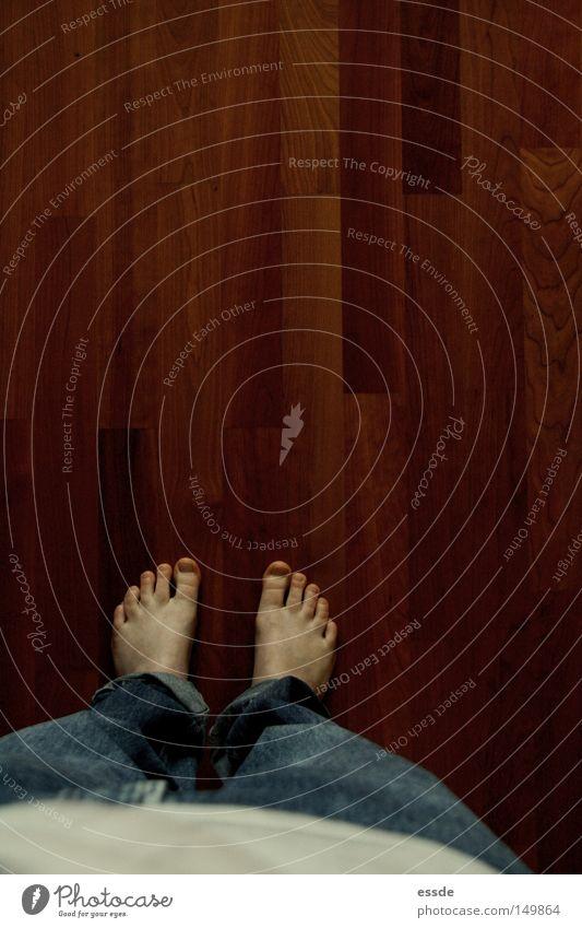 Woman Blue Calm Wood Feet Legs Brown Adults Jeans Floor covering Denim Toes Wooden floor Bedroom Distorted