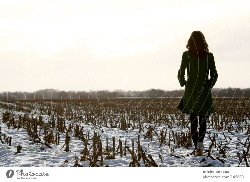 Fairy, in summer, in snow. Green Snow Field Maize Maize field White Sky Tree Background picture Coat Blonde Hair and hairstyles Going Footwear Tights Longing