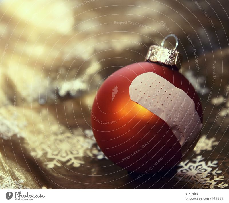 Christmas & Advent Old Winter Broken Transience Broken Shabby Glitter Ball Christmas decoration Banal Worn out