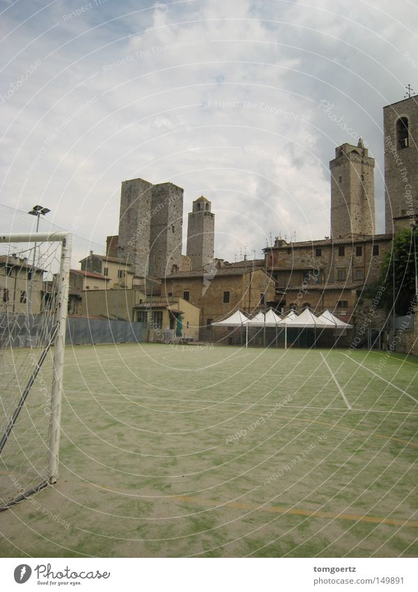 Away (from the crowds in san gimignano) Goal Football pitch Soccer Goal Tower San Gimignano Italy Tuscany Ball sports