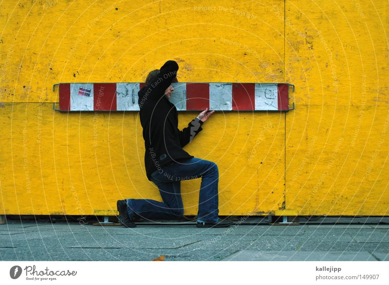 Human being Man White Red Black Yellow Work and employment Signs and labeling Back Barrier Construction site Stripe To hold on Profession Stop Christian cross