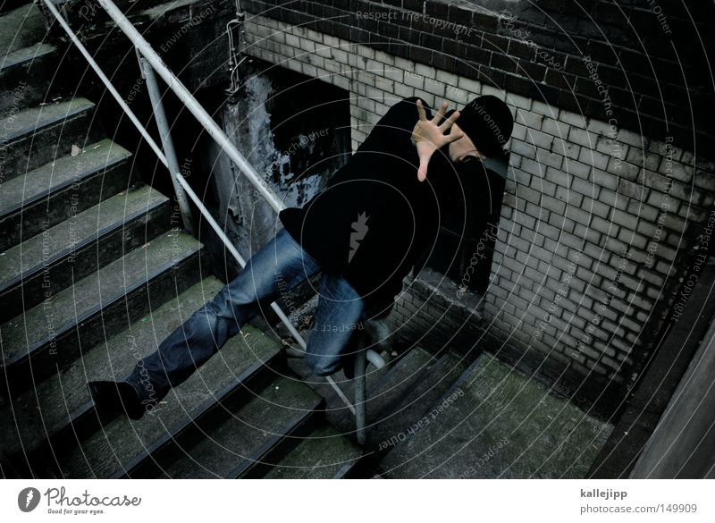 Human being Man Hand Fear Stairs Dangerous Threat To fall Stop To hold on Trust Catch Cap Scream Sudden fall Banister