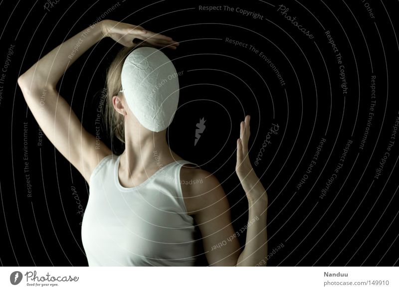 Woman Human being White Loneliness Head Dance Adults Arm Dance event Posture Mask Mysterious Hide Whimsical Shoulder Anonymous