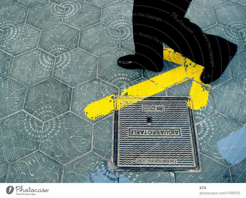 Man Water Colour Yellow Street Above Sand Legs Footwear Going Glittering Walking Drinking water Floor covering Clean Arrow