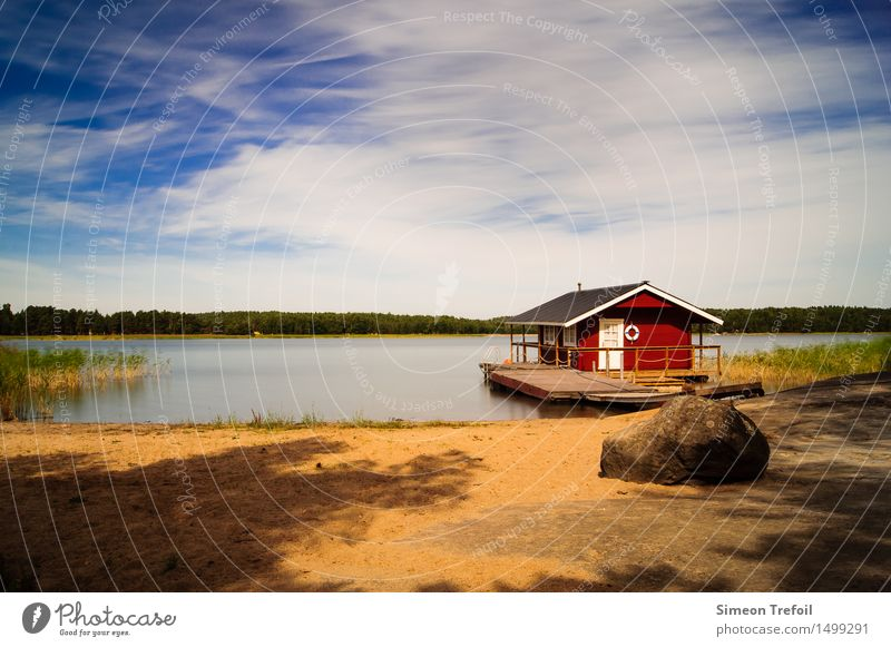 Vacation & Travel Summer Water Relaxation Landscape Red Loneliness Clouds Calm House (Residential Structure) Beach Life Freedom Swimming & Bathing Dream