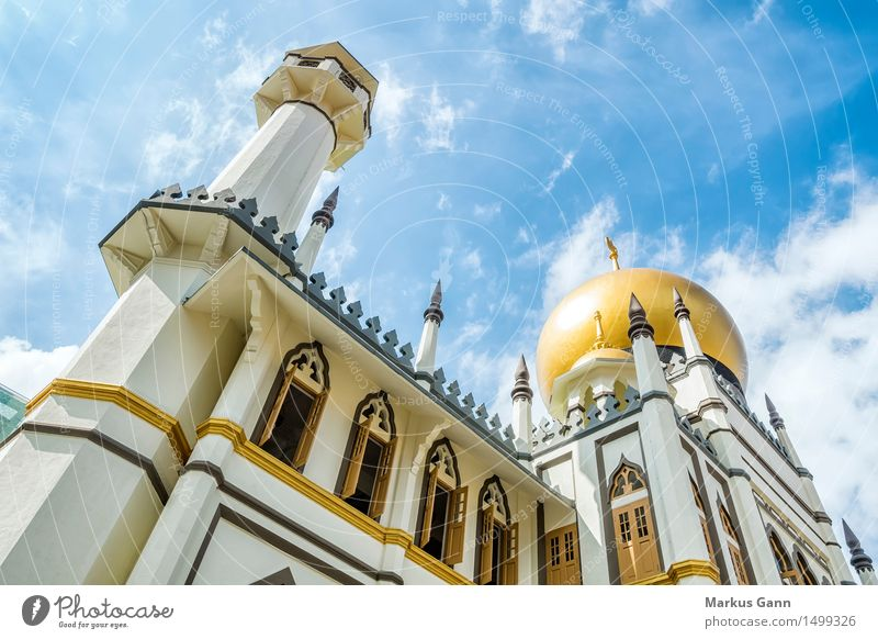 Sultan Mosque in Singapore Elegant Exotic Church Tourist Attraction Religion and faith Islam Moslem Allah Sky Blue Gold Tower Belief Arabia Colour photo
