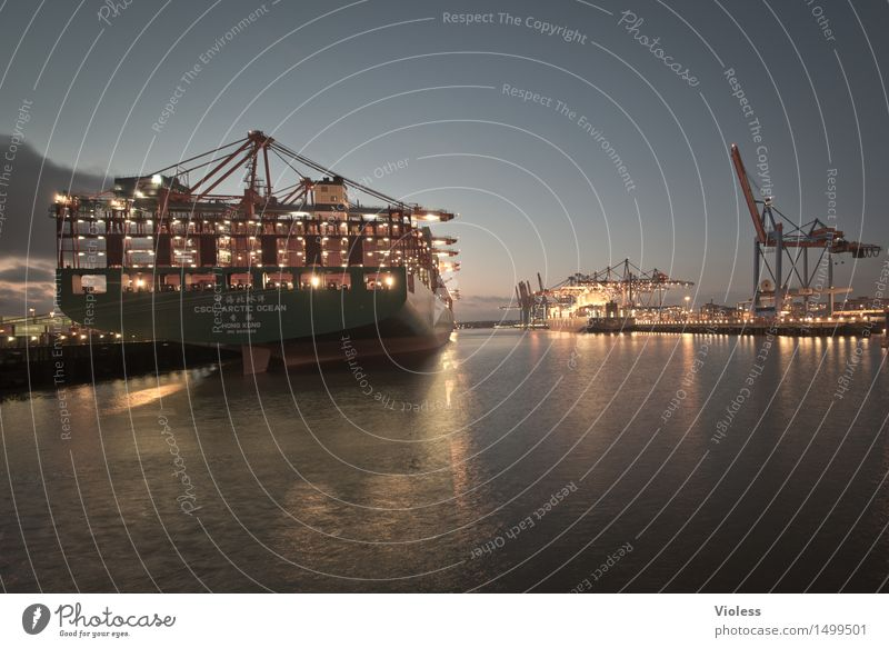 harbour lights Hamburg Harbour Night Container Container ship Light Cargo-ship Erase Elbe