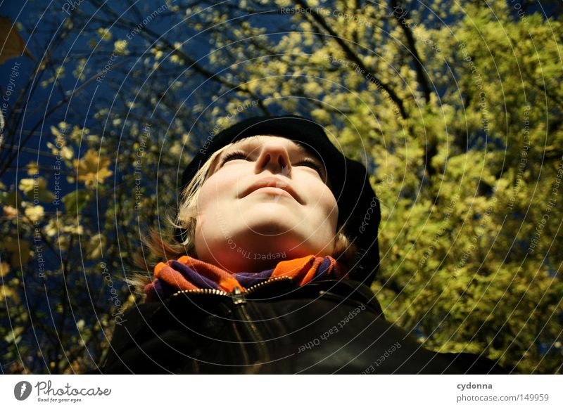 Woman Human being Nature Sky Tree Sun Face Vacation & Travel Leaf Yellow Life Relaxation Autumn Feminine Emotions Warmth
