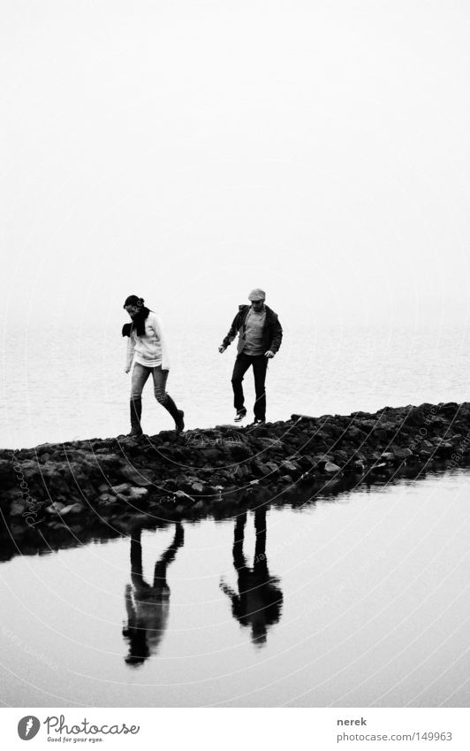 Water Calm Far-off places Cold Lanes & trails Sadness Couple Ice Time Together Going Fog Walking Wait Hiking In pairs