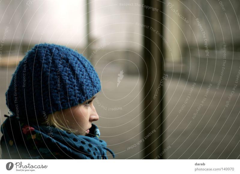 Woman Human being Beautiful Blue Winter Cold Feminine Style Think Wait Blonde Nose Corner Cap Side