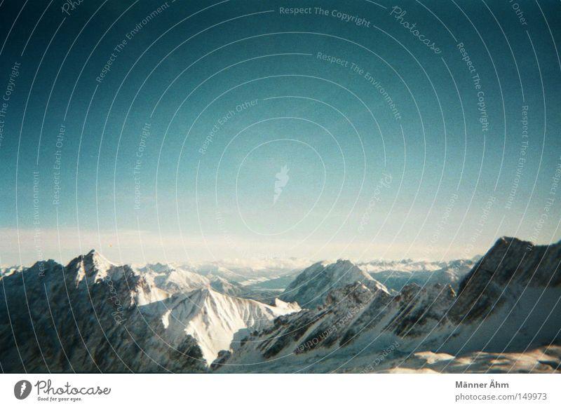 Sky Clouds Winter Far-off places Cold Snow Mountain Landscape Large Alps Peak Analog Vantage point Glacier Blue sky Vignetting