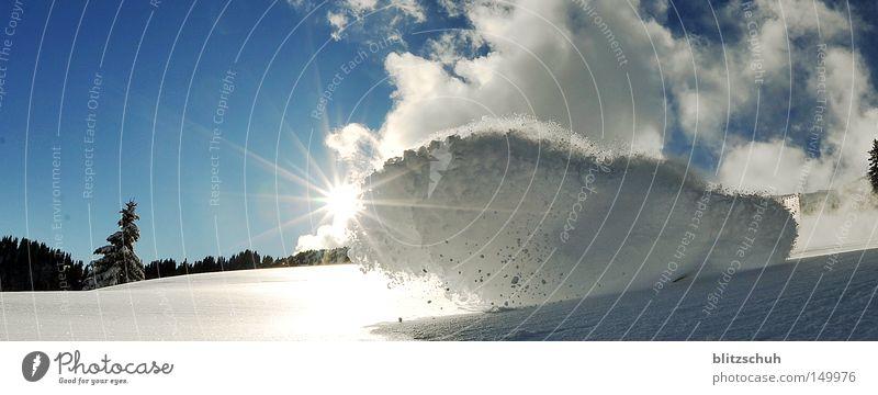 Sun Clouds Joy Winter Snow Power Action Skiing Switzerland Snowscape November Winter sports Spray Snowboarding Spirited Nature