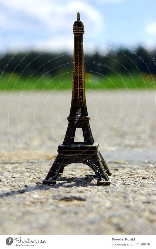 Summer Clouds Street Meadow Europe Paris France Miniature Eiffel Tower