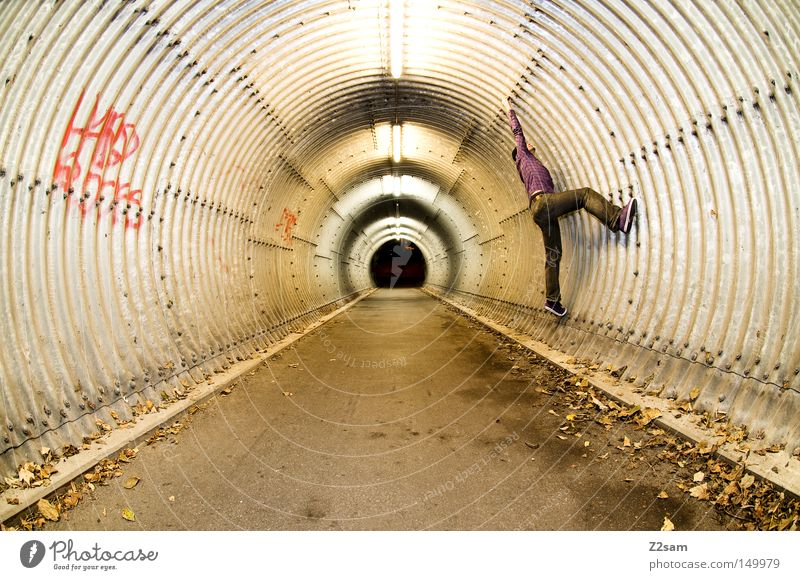 Spiderman London Underground Subsoil Tunnel Concrete Round Leaf Autumn Loneliness Dark Light Man Human being Fisheye Stand Style Perspective Climbing
