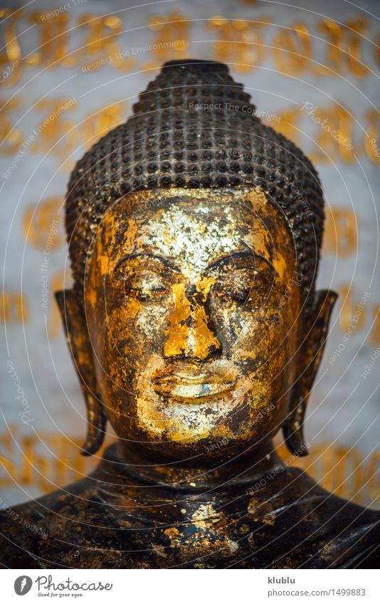 Golden buddha image in Bangkok, Thailand Happy Meditation Vacation & Travel Tourism Church Monument Metal Sit Dark Belief Religion and faith Icon Korea Buddha