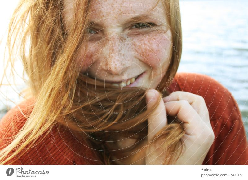 smile Woman Beautiful Wind Cold Ocean Portrait photograph Freckles Red-haired Disheveled Happiness Laughter Grinning Emanation livia cute windy sea water Face
