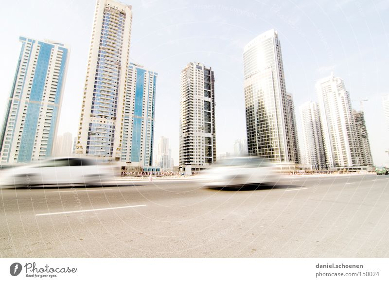 metropolis Dubai Town High-rise Movement Transport Motor vehicle Street Living or residing Flat (apartment) Arabia Maturing time Traffic infrastructure Skyline