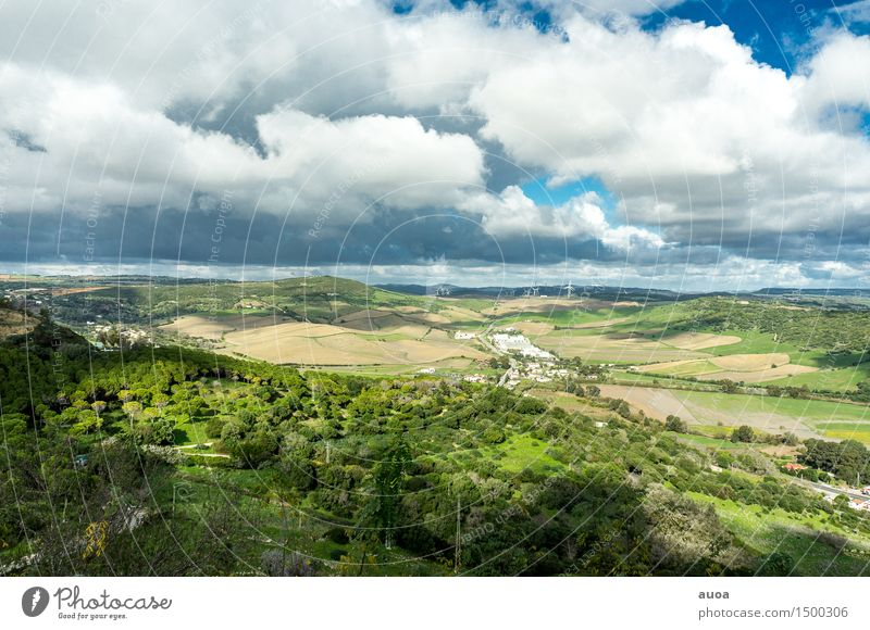 Natural Mosaic Freedom Nature Landscape Plant Sky Clouds Autumn Wind Hill Village Populated Rotate Blue Brown Green Wind energy plant Field Forest Colour photo
