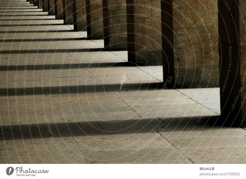 Courtyard of the temples Airport Corridor Column Stone Shadow Light and shadow Infinity Far-off places