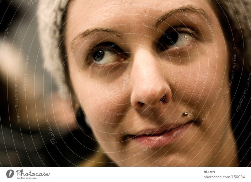 Woman Face Eyes Laughter Cap Rotate Piercing Skeptical Indulgent
