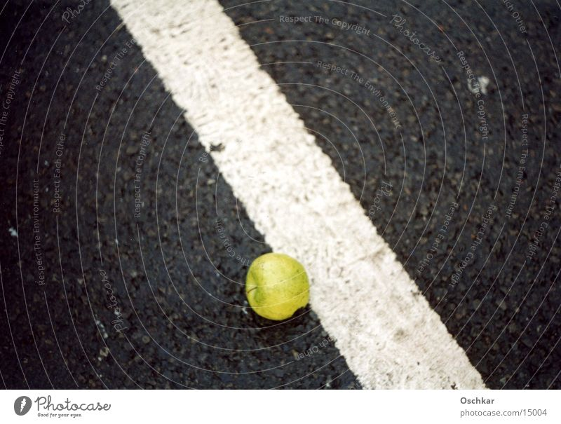 Green Stripe Apple Diagonal Traffic lane Macro (Extreme close-up)