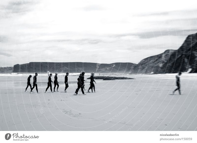 Human being Sky Water Sun Ocean Summer Beach Joy Playing Sand Friendship Bright Horizon Waves Walking Wet