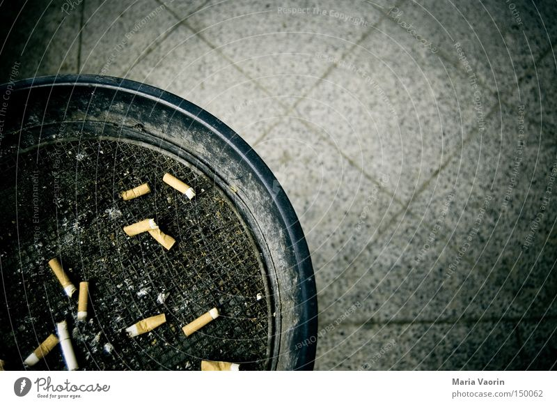 Waste bin in combination with ashtray Ashtray Dirty Gray Disgust Nicotine Addiction Hideous Intoxicant Expressed Bird's-eye view Cigarette Butt Copy Space right