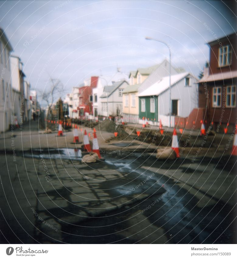 Water Street Wet Construction site Traffic infrastructure Iceland Lomography Excavator Torn Tin Barred Water ditch Soft coal mining Corrugated sheet iron