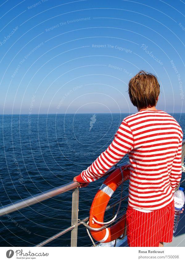 Blue Water White Summer Ocean Red Watercraft Line Horizon Stripe Navigation Striped Railing Life belt