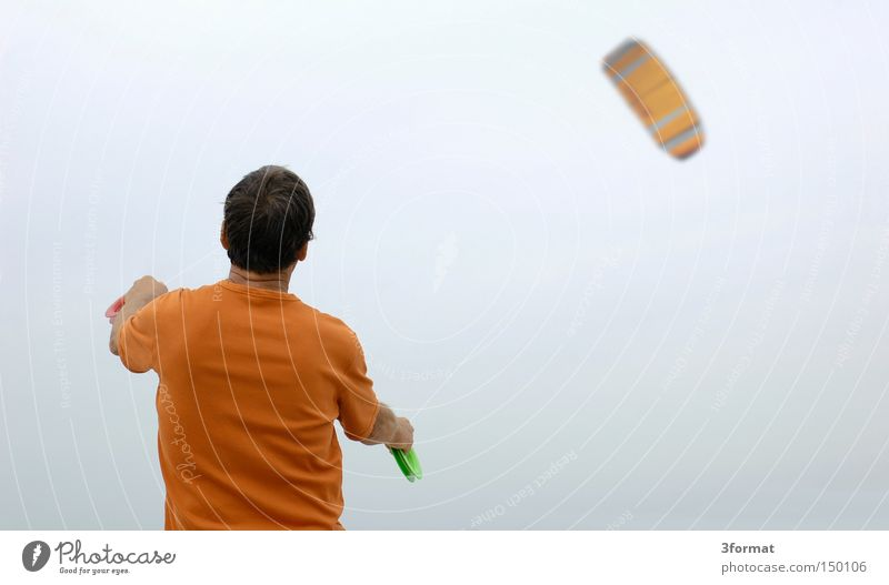 kites Wind Gale Man Ascending Above Kite Positive Beach Playing Vacation & Travel Freedom Joy Summer Back
