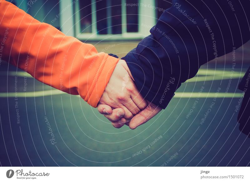 We belong together Human being Hand 2 Firm Happy Cuddly Near Warmth Blue Orange Contentment Joie de vivre (Vitality) Safety Love Infatuation Friendship Contact