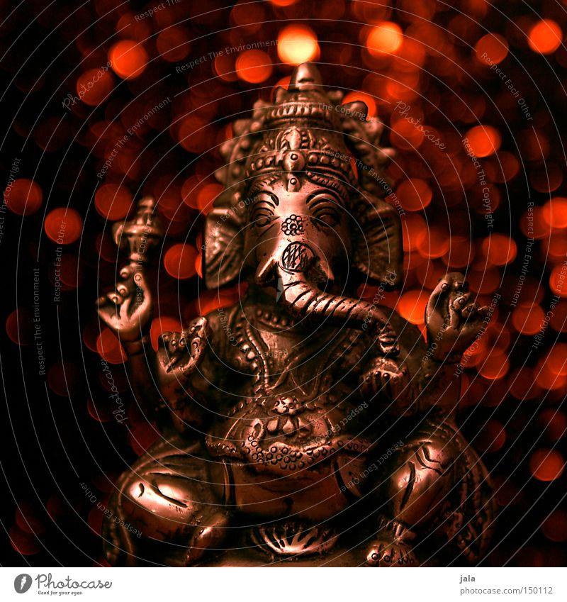 Red Dark Religion and faith Art Glittering Sit India Silver Figure God Elephant Wisdom Deities Point of light Trunk