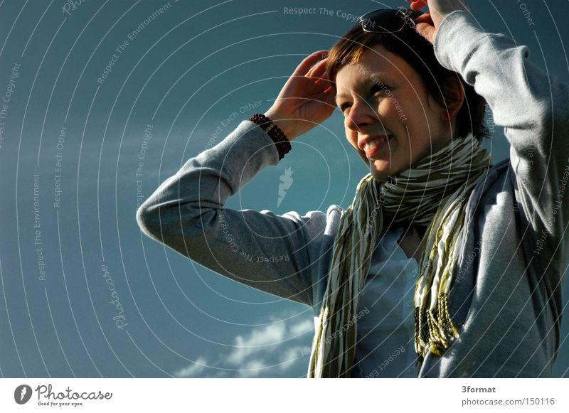 Woman Sky Joy Far-off places Laughter Future Eyeglasses Vantage point Positive Thought Optimism Optimist
