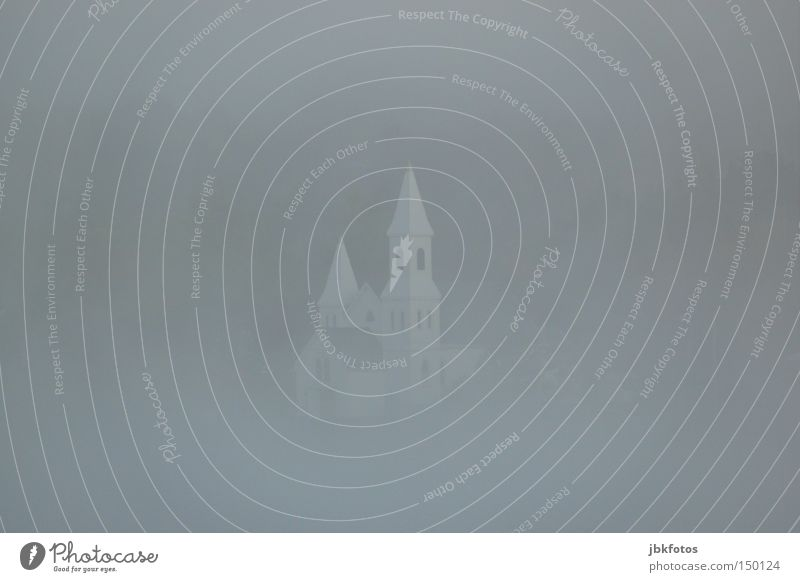 immersed in mist Fog Religion and faith Church Canada White Gray Gloomy Sunday Bell Bell tower Tower Point Window Blur House of worship Grief Snow Spire