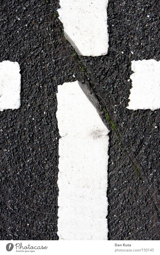 cross section Asphalt Street Life Divide Letters (alphabet) Line Stripe Rough Characters Traffic infrastructure Moral Back Death Haircut Floor covering