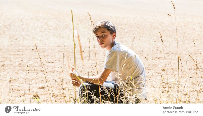 Portrait - Field - Summer Lifestyle Beautiful Senses Relaxation Calm Human being Masculine Young man Youth (Young adults) 1 13 - 18 years Environment Nature