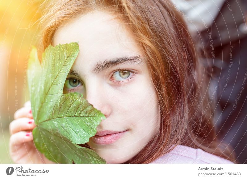 Human being Woman Nature Youth (Young adults) Beautiful Young woman Relaxation Leaf Face Adults Life Emotions Feminine Style Healthy Happy