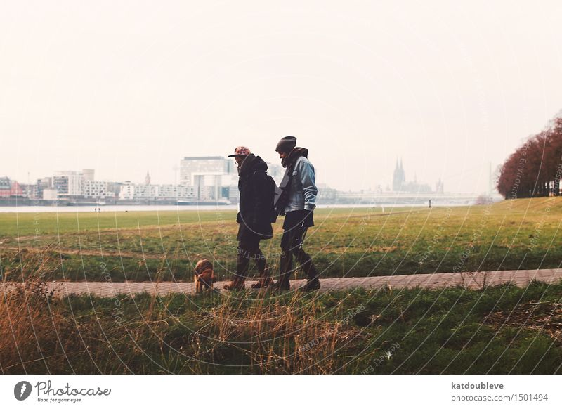 Away from all the fears Human being Homosexual Trust transsexuality To go for a walk Cologne Rhine Autumn Dog Winter Cold Exterior shot