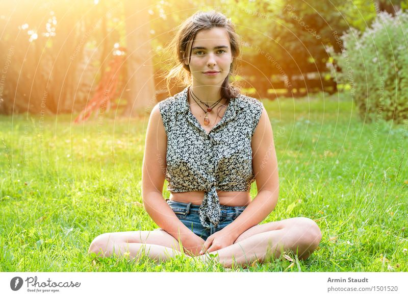 in the garden Lifestyle Style Happy Beautiful Harmonious Contentment Relaxation Meditation Summer Garden Human being Feminine Young woman Youth (Young adults)
