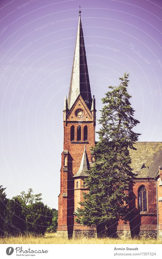 church Calm Vacation & Travel Summer Nature Sky Tree Pine Meadow Field Church Tower Architecture Tourist Attraction Federal eagle Old Discover Blue Moody