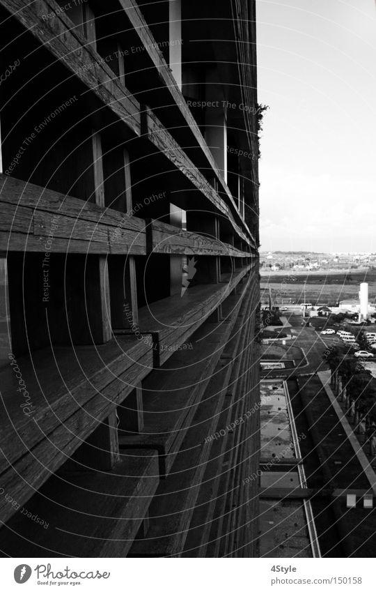 Along the wall Handrail Banister Bridge railing Wood Vantage point Perspective Balcony Future Architecture afar