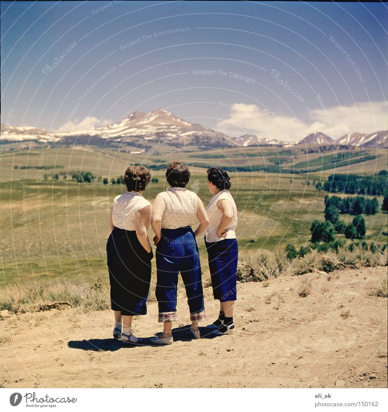 3 ladies from the grill Far-off places Mountain Woman Adults Group Landscape Break The fifties Colour photo Exterior shot Day Central perspective